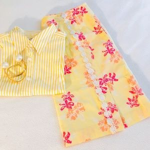 Lilly Pulitzer Yellow Coral Floral Lace Trim Skirt